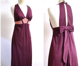 07126cf9e83 1970s Plum crepe   pink rhinestone halter neck evening dress   70s purple  suede look midriff bow cage back maxi party dress - XS S
