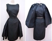 1950s Black fitted dress full overskirt or cape evening set 50s seersucker silk feel wiggle pannier over skirt - XS S
