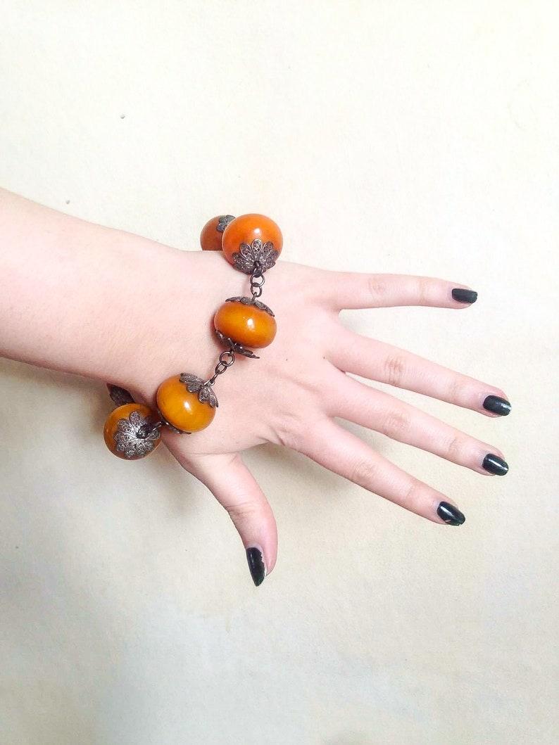 1930s marbled butterscotch Bakelite /& metal bead bracelet  30s faux Amber filigree silver chunky Catalin bracelet