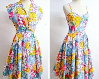 Novelty pineapple fruit print cotton sundress & bolero / 80s does 50s pink yellow blue full circle skirt dress jacket / S
