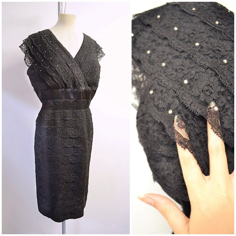 1950s Handbags, Purses, and Evening Bag Styles 1950S Black Tiered Lace  Satin Evening Dress With Rhinestones50S 60S Sparkly Fitted Harold Williams Rose Maisel Wiggle - Xl $107.59 AT vintagedancer.com