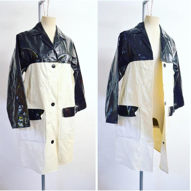 4ec84089c2bd 1960s Cream   black vinyl raincoat mac  60s original Scottymac