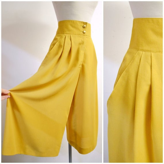 1980s does 40s Mustard crepe wide leg Charles Grey