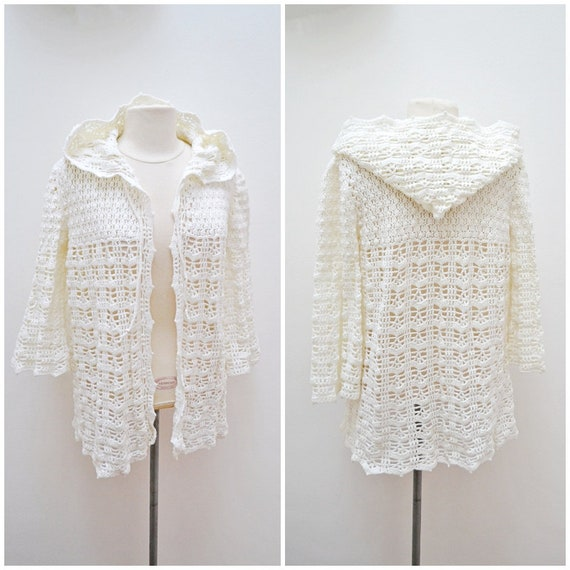 1970s does 30s Hand crocheted off white hooded cov