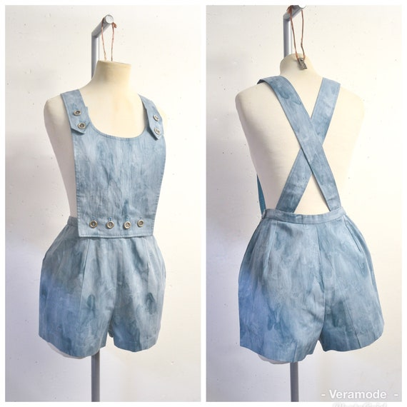 1970s Marbled blue cotton drill bib front strap sh