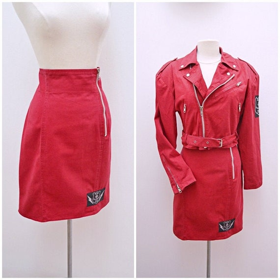 1980s Red biker style jacket and high waist skirt