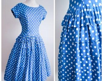 1950s Blue white polka dot cotton tiered full skirt dress / 50s spotty lace edge summer dress - S