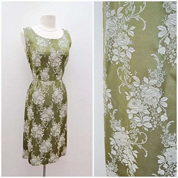 1950s Green rose pattern satin brocade wiggle dres