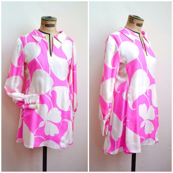 1960s Malcolm Starr pure silk hot pink & ivory psy
