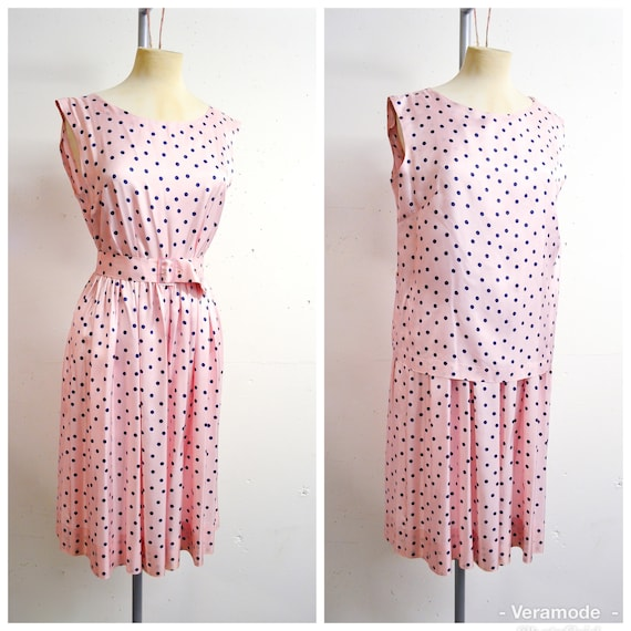 1950s 60s Pink & navy blue polka dot sun dress top