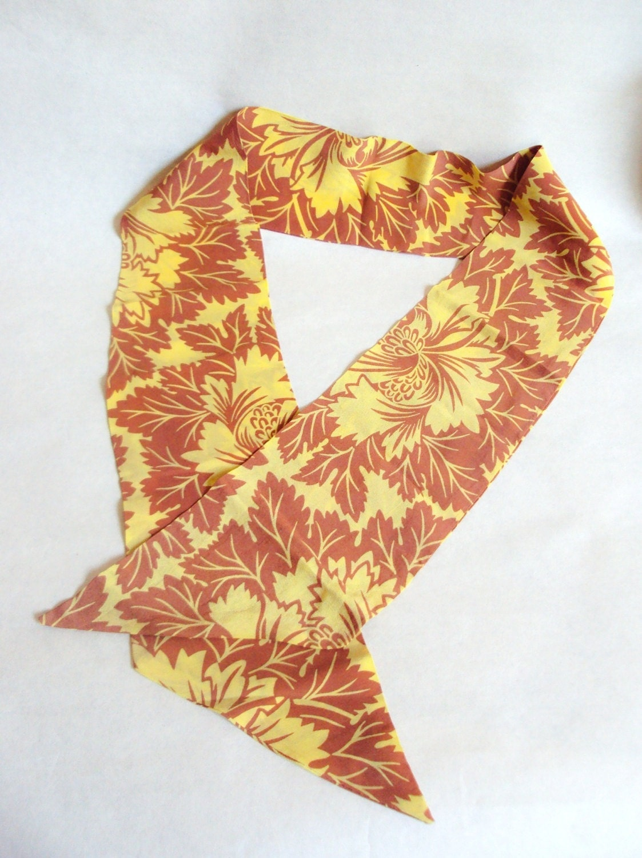 1930s Silk Art Deco Flora Print Neck Tie In Yellow Ochre 30s Etsy