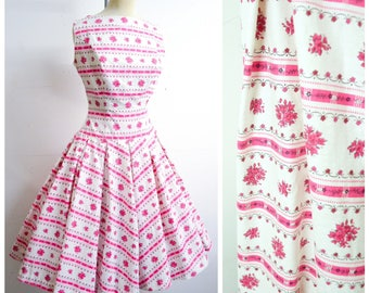 1950s White pink floral stripe print cotton sleeveless day dress / 50s printed drop waist full pleated skirt sun dress - S