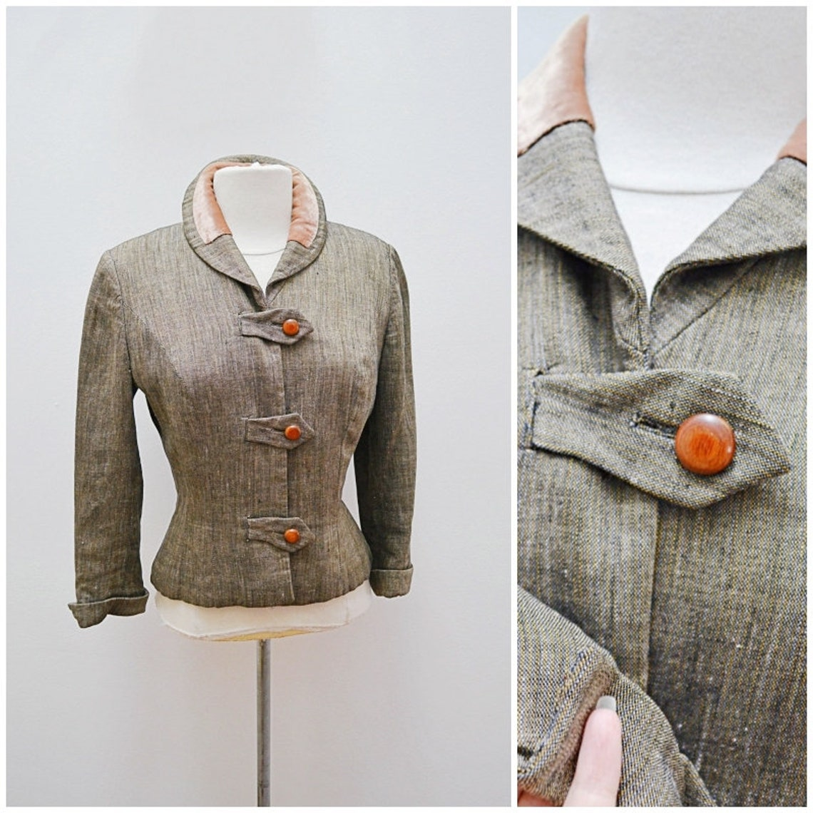 1940s Grey Green Silk & Peach Velvet Fitted Jacket / 40s Harmay Crepe Lined Nipped Waist - S
