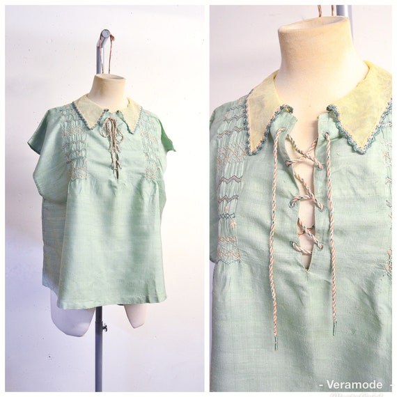 c4d3bae2495615 1920s Pastel green   pink silk smocked eyelet lace up peasant