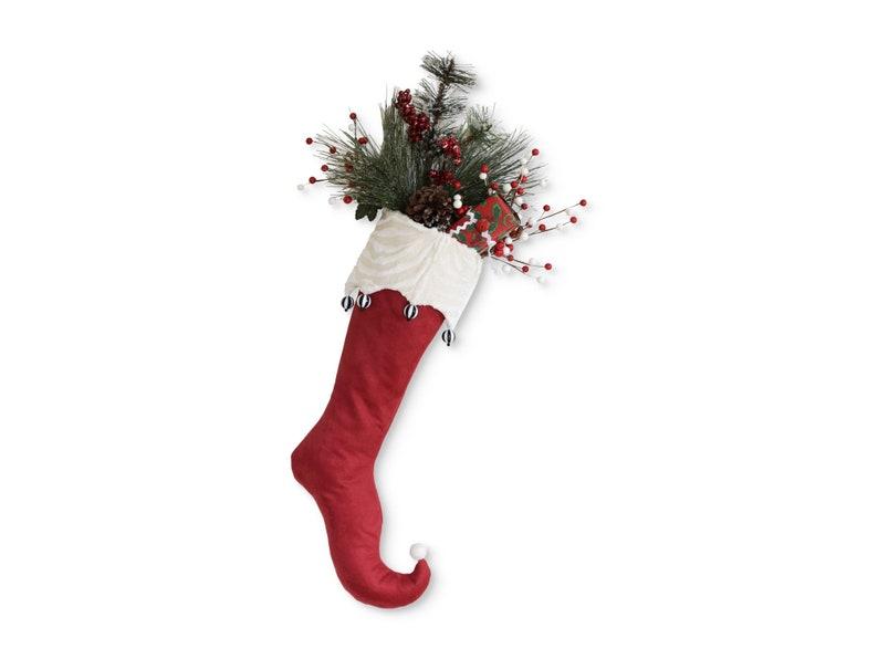 Elf Christmas Stocking Licorice  Red Off White  Curly toe  image 0