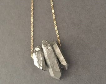 Handmade gold filled chain necklace with rough pyrite gold shard nuggets