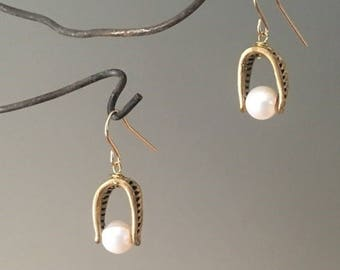 Handmade freshwater pearl, brass, and 14/20 gold filled ear wires; dangle earrings