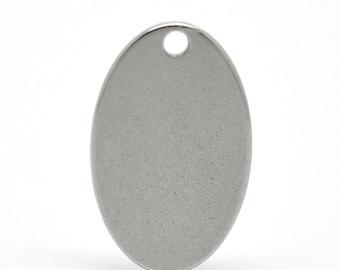 "10pc Stainless Steel 19mmx12mm (3/4"" x 1/2"") Oval Blank Stamping Tag"