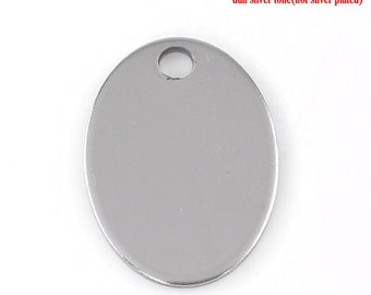"10pc Stainless Steel 24mmx17mm (1"" x 5/8') Oval Blank Stamping Tag"