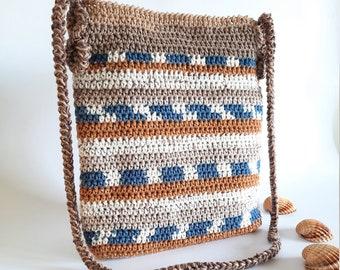 Crossbody crochet bag, small crossbody bag, Shoulder bag cotton, boho bag cross body