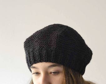 Accessories Women -  black hat women - knit beret - accessories for winter - hat knit - black beret - women winter hat - winter tam hat