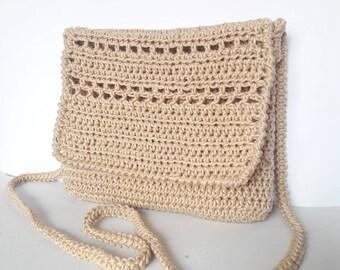 Boho small bag, Crossbody crochet bag, small crossbody bag, Shoulder bag cotton, boho bag cross body