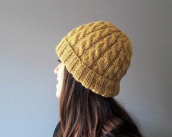 Wool hats handmade , winter hats women, hat with braids wool