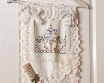 Vintage Linen Wall Hanging