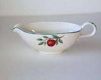 Homer Laughlin Rhythm Gravy Boat Red Apple, Apple Blossom