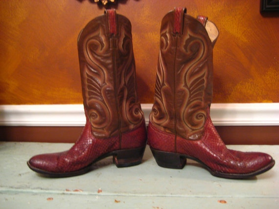 Larry Mahan Brown Red Lizard Vintage Cowboy Boots
