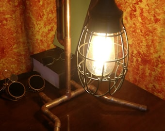 Hanging Cage Steampunk Fuse Brass Desk Lamp