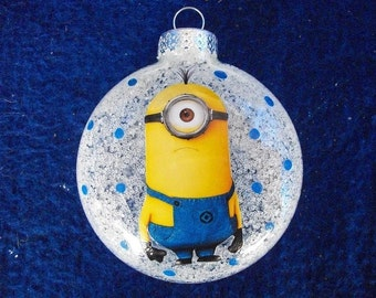 single ornaments one eyed minion inspired - Minion Christmas Ornament