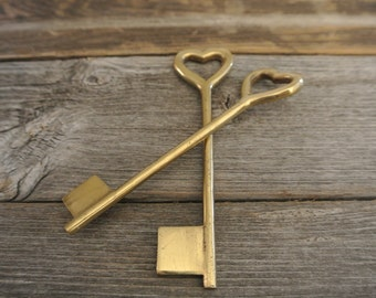 Antique Brass Heart Skeleton Key