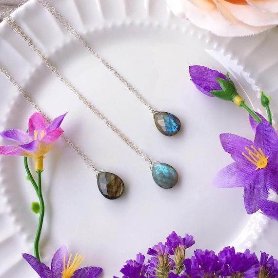Blue Labradorite Pendant Fine Silver natural Quartz Natural stone ready to ship Unique gifts Labradorite Necklace Pendant Silver Jewelry
