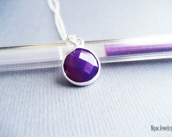 Amethyst Chalcedony Necklace, Gemstone Bezel Sterling Silver Necklace, Round Deep Purple Stone Necklace, Simple, Delicate, Elegant, Minimal