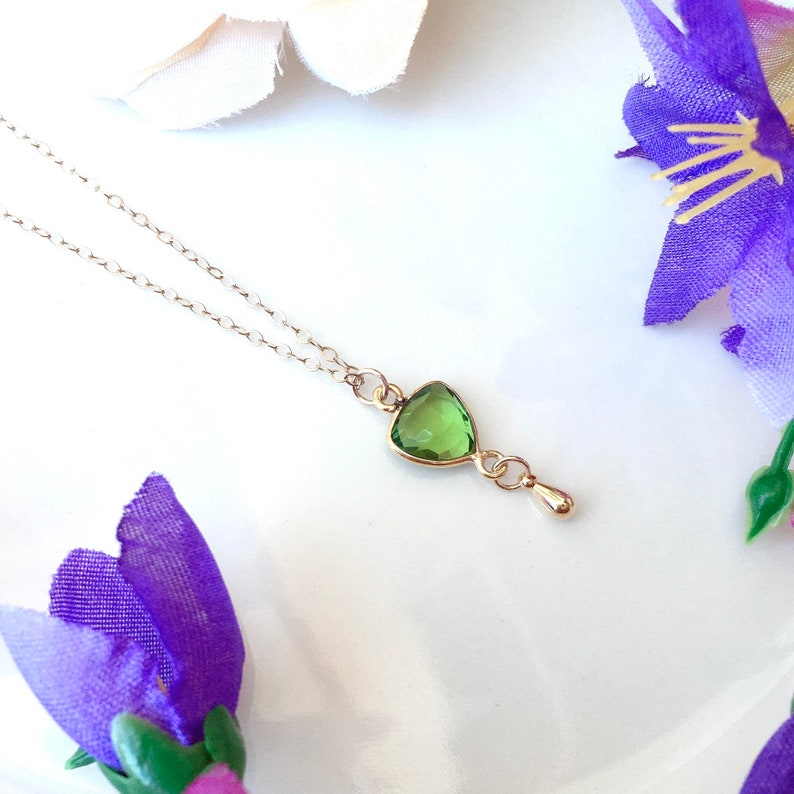 Triangle Necklace Tiny Gold Teardrop Gold Filled Necklace August Birthstone Necklace Peridot Necklace Peridot Jewelry Peridot Crystal