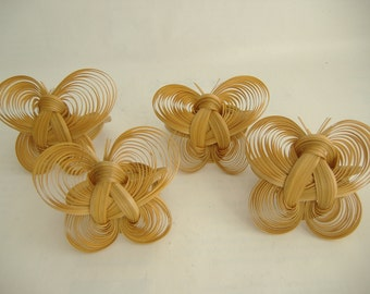 Set of Four Quilled Bamboo Butterfly Napkin Rings
