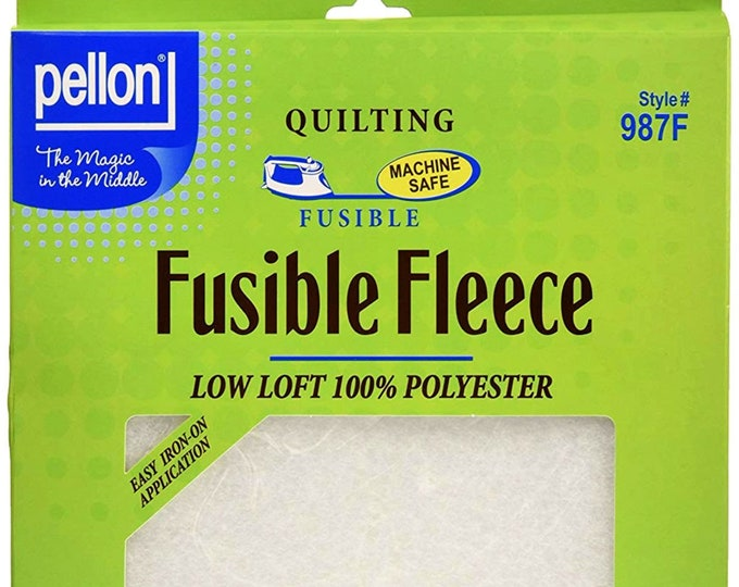 """Pellon 987F Fusible Fleece Low Loft Batting 22"""" x 36"""" Backing for Quilting Home Decorating Crafting Apparel Projects White Iron On"""