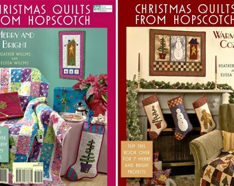 "QUILT BOOK ""Christmas Quilts from Hopscotch"" Two Books in One Warm and Cozy Merry and Bright Heather Willms Elissa Willms DIY Quilt Patterns"