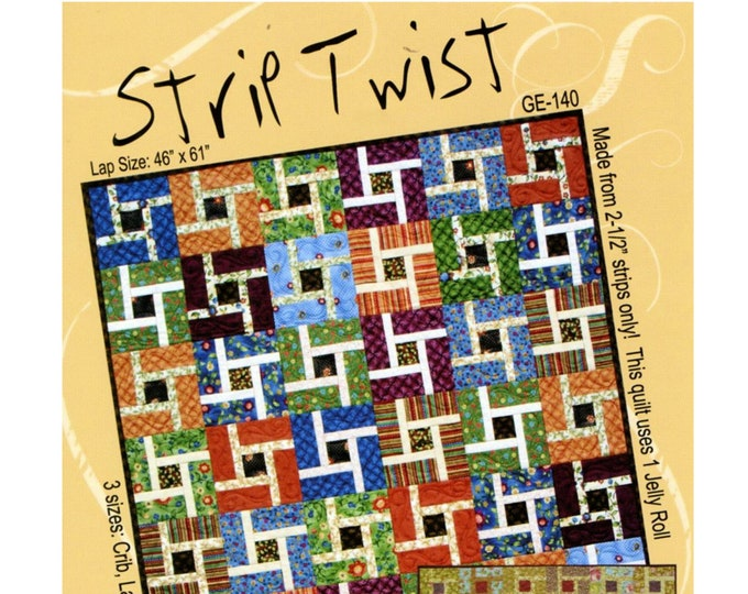 """QUILT PATTERN - """"Strip Twist"""" G.E. Designs Pieced Quilt Project Crib Size Lap Size Twin Size Jelly Roll Friendly Paper Pattern"""