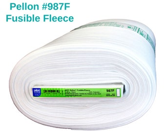 Pellon 987F Fusible Fleece By the Yard Low Loft Batting Backing for Quilting Home Decorating Crafting Apparel Projects White Iron On
