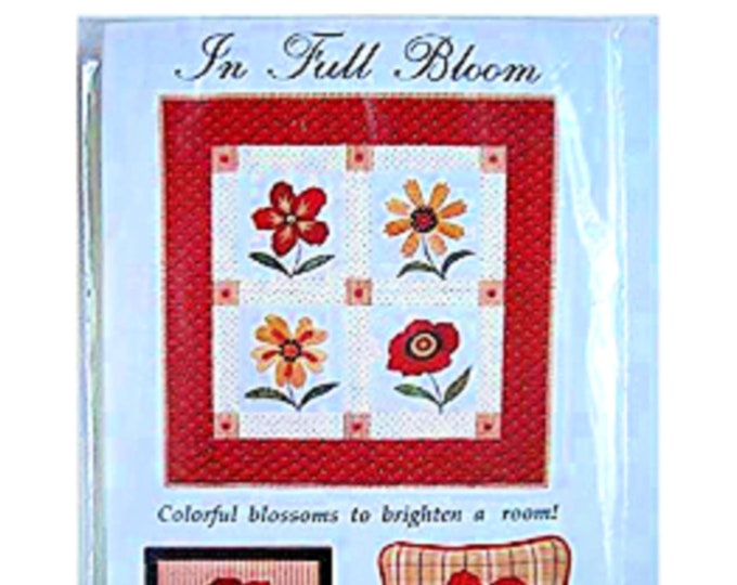 """Quilt Pattern """"In Full Bloom"""" by Country Appliques Throw Quilt Project Wall Hanging Pillow Framed Picture Folk Art Flowers Applique Projects"""