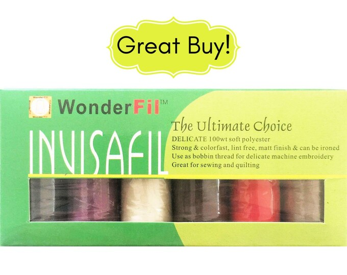 Invisafil Thread by Wonderfil Mini Pack B005 100 Weight Ultra Fine Cottonized Polyester Thread Matte Finish for Applique Sewing Quilting