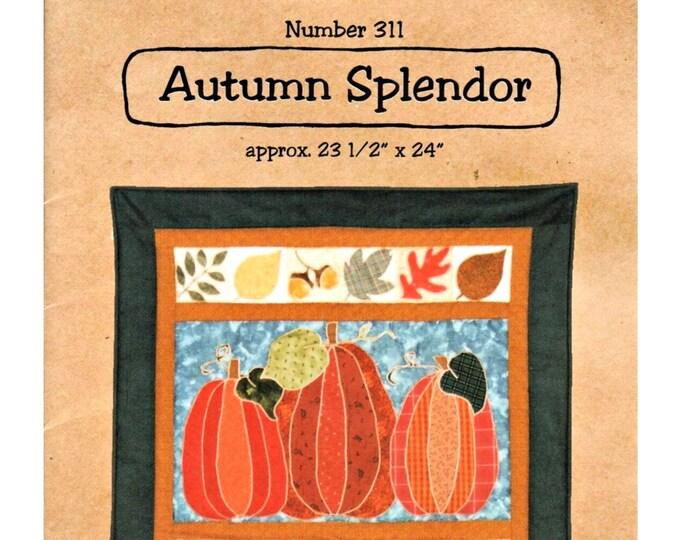 "Quilt Pattern ""Autumn Splendor"" by Dizzy Izzy Designs Wall Quilt Hanging Machine Applique Pumpkins Leaves DIY Quilt Project Paper Pattern"