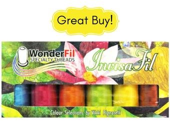 Invisafil Thread by Wonderfil Mini Pack B007 100 Weight Ultra Fine Cottonized Polyester Matte Finish for Applique Sewing Quilting Bobbins