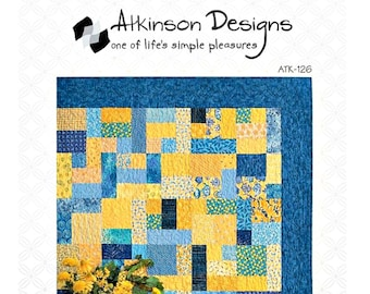 "QUILT PATTERN - ""Yellow Brick Road"" by Atkinson Designs Pieced Quilt Project Baby Crib Lap Twin Queen King Size Fat Quarter Friendly Easy"