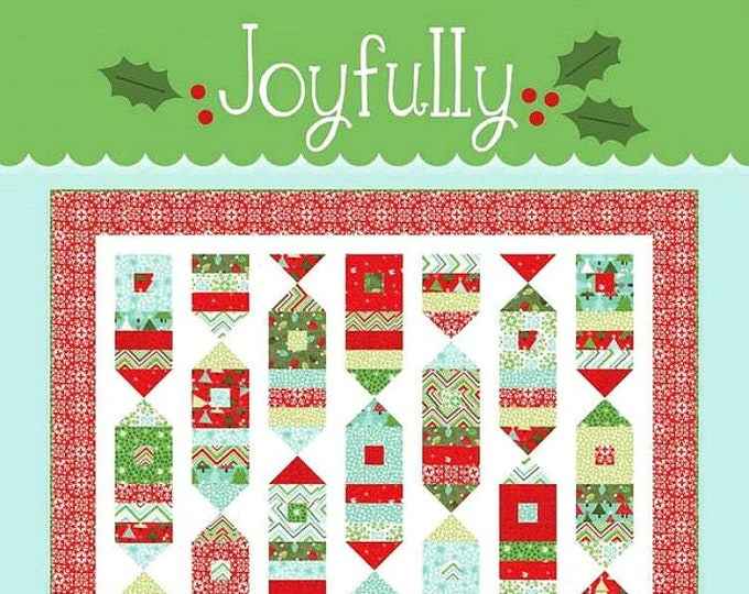 "Quilt Pattern ""Joyfully"" Cluck, Cluck, Sew Pieced Quilt Project Lap Throw Size Template Christmas Holiday Project"