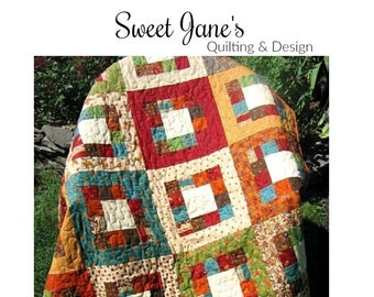 "Quilt Pattern ""Market Square"" Sweet Jane's Pieced Quilt Project Jelly Roll Fat Quarter Friendly Lap Throw Size Template DIY Quilt"