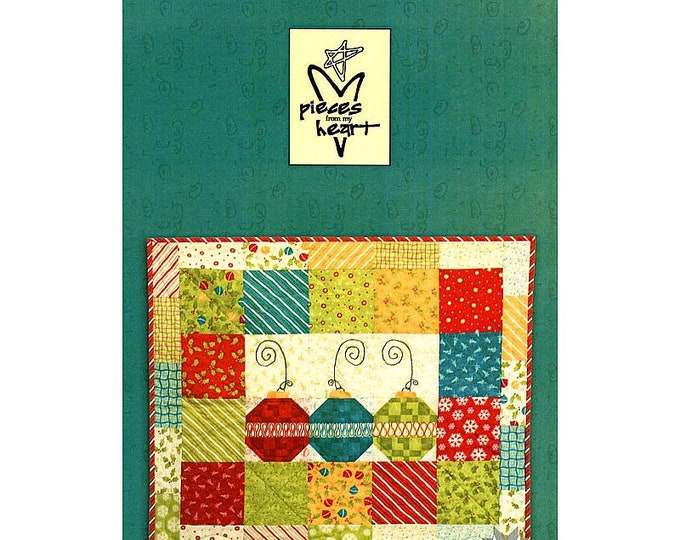 "Quilt Pattern ""Delightful"" Pieces of My Heart Holiday Christmas Ornaments Wall Hanging Table Mat Table Runner Whimsical"