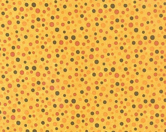 One-Half Yard Moda Fabric Remnant Sandy Gervais Perfectly Seasoned Maize Multi Dot Cotton Quilting Fabric Destash Autumn Fall Orange Red